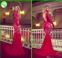 Model Pictures Scoop Chiffon 2014 Sexy vestidos formales Lace Backless Scoop Mermaid Prom Evening Dresses Arabic Chiffon Long Sleeves Celebrity Red Carpet Dress BY1857