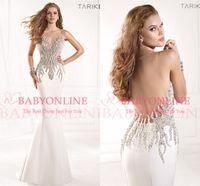 Wholesale 2015 Sheer Tarik Ediz Formal Evening Gowns Sexy Illusion Crystals Rhinestone Backless Mermaid Vintage Pageant Prom Dresses TE93029