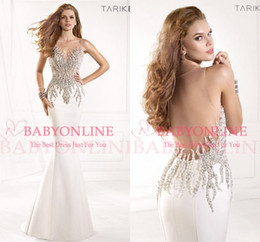 Wholesale 2015 Sheer Tarik Ediz Formal Evening Gowns Sexy Illusion Crystals Rhinestone Backless Mermaid Vintage Pageant Prom Dresses TE93029