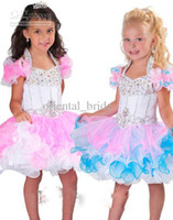 Reference Images Toddler Beads 2014 New Cute Little Girl's Pageant Dress Ball Gown Cupcake Mini Short Ruffles Beaded Organza Glitz Flower Girl Dress