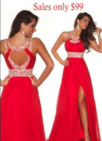 Wholesale 50 OFF Cheap Long Red Chiffon Crystal Beads Front Side slit Evening Prom Dresses under Halter Strap A line Empire Bridesmaid Dresses