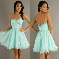 Wholesale Strapless Light Sky Blue Chiffon Organza Sheer Cheap Mini Short Evening Prom Dresses under Cocktail Homecoming Party Dresses ML9212
