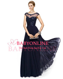 Wholesale Vintage Chiffon Navy Blue Lace Crew Illusion Neck Prom Evening Gowns Appliques Beads Cap Sleeves Plus Size Mother of the Bride Dresses EB216