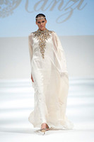 Reference Images High Neck Chiffon 2014 New Arrival Dubai Kaftan Abaya Ivory Chiffon Long Evening Dress With Appliques