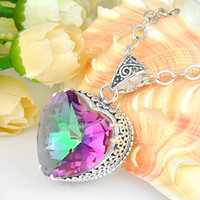 Wholesale 925 silver natural mystic topaz gem stone charm pendants P0980