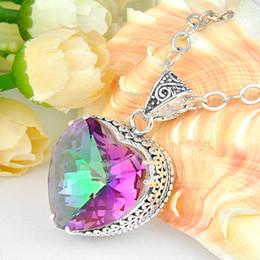 Wholesale 925 silver natural mystic topaz gem stone charm pendants P0980