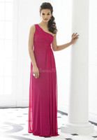 Charming One Shoulder Sheath Pink Long Chiffon Bridesmaid Dr...