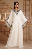 Reference Images V-Neck Chiffon 2014 New Arrival Dubai Kaftan Abaya Ivory Chiffon V-Neck Sliver Beaded Long Evening Dress