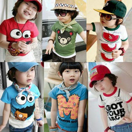 Wholesale Summer children s clothing boys and girls multicolor compassionate sleeved T shirt for children