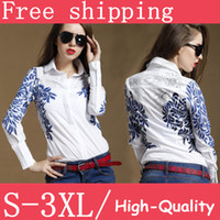 Wholesale Polo women s blue totem flower print white long sleeve ladies blouses botton up tops for ladies casual business plus size XL XXL free SH