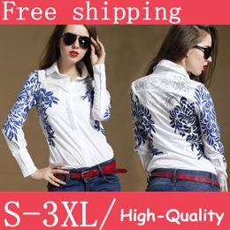 Wholesale Polo women s blue totem flower print white long sleeve ladies blouses botton up tops for ladies casual business plus size XL XXL free SH
