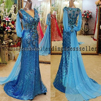 Reference Images V-Neck Sequined Peacock Blue V neck Ribbon Sequined Appliques Sleeveless Mermaid Court Train Prom Gowns Evening Dresses