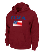 Wholesale USA Olympics USA Flag Pullover Hoodie Red Hockey Hoodies New Mens Sports Jackets Discount Hockey Wears All Team Players Sportswear on Sale