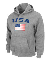 Wholesale USA Olympics USA Flag Pullover Hoodie Grey Hockey Hoodies Soft Mens Sports Jackets Cheap Players Outdoor Apparel Discount Hockey Wears