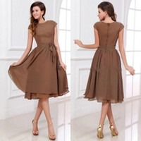 Wholesale BH Fast Delivery Sexy Bridesmaids Dress Chiffon Scoop Neck Short Sleeveless Bowknot Tea length Zipper Back Party Dresses