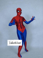 Wholesale 2014 Lycra women s Spiderman Hero zentai catsuit costume red blue S02