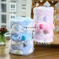 Wholesale Baby s Blankets stereo elephant Coral fleece Blankets soft Multi purpose Printing cloak blanket cm