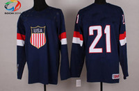 Ice Hockey Men Full Wholsale Team USA Ice Hockey Jerseys Van Riemsoyk #21 Blue for 2014 Sochi Winter Olympics Size 48-56