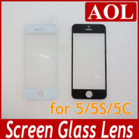 iPhone 5/5s/5c   200pcs Top Quality Outer Touch Screen Glass Lens Cover without flex cable for iPhone 5 5S 5C Replacement White and Black choose DHL free