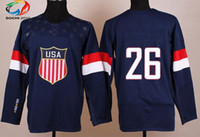 Ice Hockey Men Full Wholsale Team USA Ice Hockey Jerseys Paul Stastny #26 Blue for 2014 Sochi Winter Olympics Size 48-56