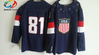 Ice Hockey Men Full Wholsale Team USA Ice Hockey Jerseys Marian Hossa #81 Blue for 2014 Sochi Winter Olympics Size 48-56