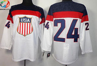 Ice Hockey Men Full Wholsale Team USA Ice Hockey Jerseys Ryan Callahan #24 White for 2014 Sochi Winter Olympics Size 48-56