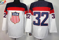 Ice Hockey Men Full Wholsale Team USA Ice Hockey Jerseys Jonathan Quick #32 White for 2014 Sochi Winter Olympics Size 48-56