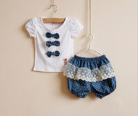 Wholesale 2014 Summer NEW STYLE Children Clothing Set Pure Cotton Short Sleeve Tshirt Plus Fours Shorts Kid s Girl Suit Child Suits XF621