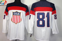 Ice Hockey Men Full Wholsale Team USA Ice Hockey Jerseys Phil Kessel #81 White for 2014 Sochi Winter Olympics Size 48-56
