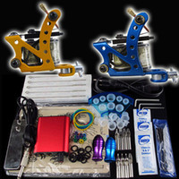 Wholesale Beginner Gun Kit Tattoo Machine Gun Power Supply Foot Pedal Needles Grip Tip Ink Cups M1043