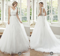 Wholesale 2014 Amazing Mia Solano Wedding Dresses A Line Beach Bridal Gowns V Neck Ivory Lace Appliques Tulle Ribbon Pleated Flowers Sheer Backless