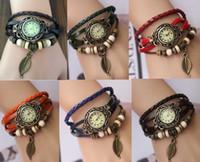 Unisex battery pendant - Mix colors Tree Leaf Pendant watch women bracelet quartz watches ladies wristwatches LP004