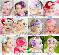 Headbands Lace Solid 20pcs lot Beautiful Flowers Rhinestone Heart Shaped Lace Mix Style Baby Girls Photo Props Headbands Wear Hair Accessories B2866