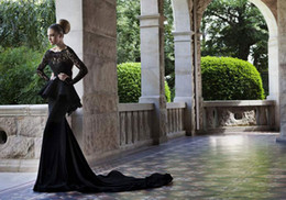 Wholesale Scoop Glitz Backless Black Lace Evening Dresses With long lace Sleeves peplum Mermaid Dresses Chapel Train Evening Gown