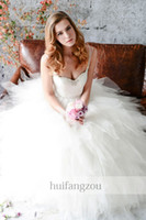 Wholesale 2014 Eden Bridals A Line Wedding Dresses Spaghetti Sweetheart Sash Beads Sequins Tulle Handkerchief ruffles White Ivory Chapel Train BL068