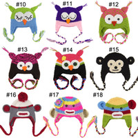 Wholesale Cartoon Designs Cotton Handmade Children Crochet Hats Various Animal Styles Baby Owl Beanie Hat Kids Flower Cap