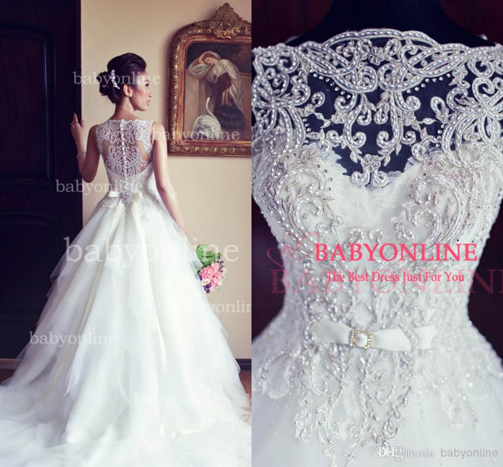 2016 Arabic Ball Gown Vintage Wedding Dresses Lace Crew Illusion ...