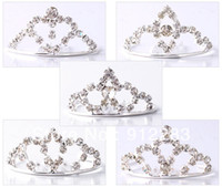 Wholesale Fashion Tiaras Silver Plated Rhinestone Metal Hair Combs Kids Hair Accessories Wedding Bridal Tiara