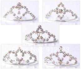Drop Shipping Wholesale 50Pcs Lot Fashion Tiaras Silver Plated Rhinestone Metal Hair Combs, Kids Hair Accessories Wedding Bridal Tiara Fine