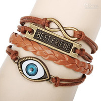 South American americans best eye - VERY COOL BEST FRIEND Fish Eye Bracelets Multi Layer Braided Leather Handmade Combination Pattern Colorful Charm Bracelets