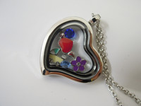 Wholesale Floating Glass Locket Necklace Magnetic Heart Shape Locket With Chain Keep Your Memories Origami Owl Locket