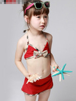 Wholesale gentle girls Swimwear Children swimwear Kids Separates bikini bathing suit swimming cap swimsuit