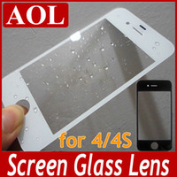 Wholesale Black and White Touch Screen Glass Lens Cover For iPhone S Repair Parts Front Outer Glass Lens Screen