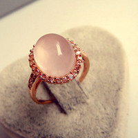 Wholesale Natural powder k rose gold ring couple female gemstone jewelry white jade rings CZ rings R1