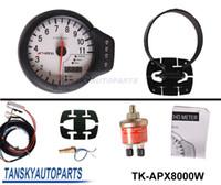 Wholesale DECS mm IN oil Temperature Pressure Rev Gauge Tachometer face white original color box TK APX8000W