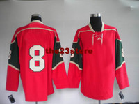 Ice Hockey Men Full 2014 New season hot Team wild 8 burns Hockey Jersey red dark green Hockey Jerseys High Quality Stitched Players Sports Jerseys Cheap