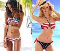 Women Bikinis Pure Colour Hot Women's Star-Spangled Halter Bikini Swimwear Stars & Stripes Padded Push Up Top & Bottom Swimsuit Bathing Suit Swimming wear T79 002
