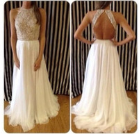 High Neck long summer dresses - 2015 White Ivory Cheap Sexy Shiny Summer Lace Evening Gowns High Neck Crystals Beaded White Chiffon Backless Long Prom Formal Dresses BO4473