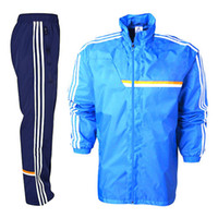 Wholesale 2014 Brazil World Cup Madrid Training Presentation Suit Mens Blue Soccer Jacket Navy Blue Training Pants New And Fashion Sports Jackets