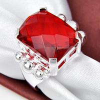 Wholesale Easter BIG PURCHASE Popular Style Ruby Garnet Graceful sterling Silver Rings CR0648